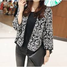 Patterned Blazer Womens Extraordinary Drop Shipping Womens Short Patterned Loose Coat Collarless Jacket