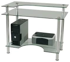 tier one designs clear glass computer desk with monitor stand contemporary desks and hutches by tier one designs