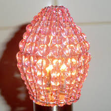 crystal chandelier inspired glass bead lightbulb candle bulb cover pink rose pendant lamp sleeve retro lamp