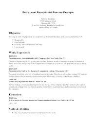 Objective For Resume Receptionist Best Free Medical Secretary Resume Sample Objective Receptionist Samples