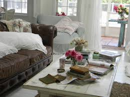 Shabby Chic Living Room Brown Sofa In Leather  Carameloffers Throughout Shabby  Chic Sectional Sofas Couches