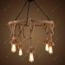 Ms 12 Nordic Hanfseil Kronleuchter Retro Kreative Dangling Lampe Vintage Anhänger Leuchte