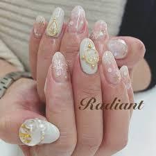 冬ハンド雪の結晶ホワイトジェル Radiantのネイルデザインno