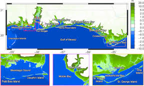Weeks Bay Tide Chart Hydrodynamic Model Elevations Of The Northern Gulf Of Mexico