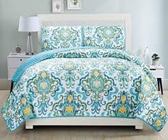 turquoise and yellow bedding. Plain Turquoise 3Piece Fine Printed Quilt Set Reversible Bedspread Coverlet FULL  QUEEN  SIZE Bed Cover For Turquoise And Yellow Bedding M