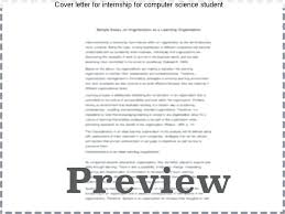 Cover Letter Computer Science Internship Cover Letter For Internship For Computer Science Student Sample