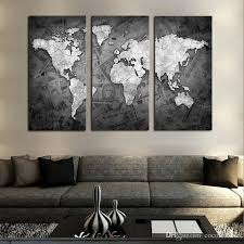 frameless wall art classical grey color modern world map canvas painting contemporary artwork wall picture for living room 3 piece canvas wall art buddha  on 3 piece canvas wall art diy with frameless wall art classical grey color modern world map canvas