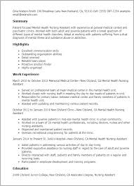Resume Templates: Mental Health Nursing Assistant
