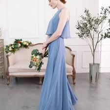 Tulle & Chantilly - Simple <b>Long Chiffon Bridesmaid</b> Dress with ...
