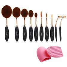 pro 10 pcs new fashion makeup brush set super soft oval toothbrush foundation concealer blush contour