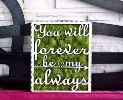 love forever moss hanging canvas moss decoration green design letters creative