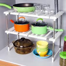 multipurpose stainless steel kitchen and under sink storage rack expandable