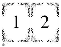 Printable Wedding Place Cards Seating Chart And Table Numbers Free