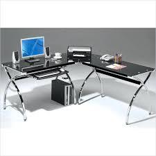 l shape glass desk l shaped glass desk with chrome frame in black mezza l shaped glass computer desk
