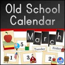 Calendar Pocket Chart Set Vintage School Themed Calendar Pocket Chart Printable