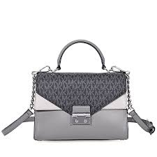 michael kors sloan king leather medium satchel grey item no 30f8ssls2v