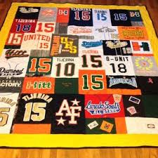 Custom Quilts | Personalized Quilts | CustomMade.com & Custom Embroidered High School Softball Uniform And Tshirt Memory Quilt by  Amanda Witherspoon Adamdwight.com