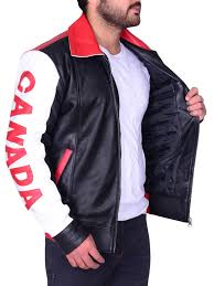 men canadian flag er leather jacket