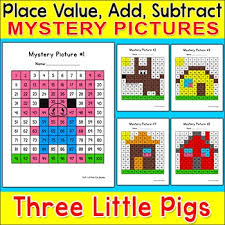 Color By Number Hundreds Chart Color By Number The Three Little Pigs Hundreds Chart Mystery Pictures