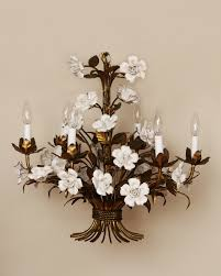 vintage french gilt and porcelain chandelier