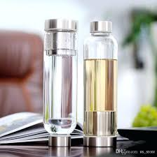 glass infuser water bottle sport with tea filter protective bag fruit outdoor free refillable bottles