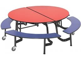 round mobile bench cafeteria table 60