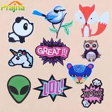 <b>ZOTOONE</b> Alien Animals Bird <b>Unicorn</b> Feather <b>Stripe</b> Embroidery ...