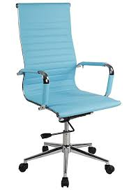 high back ribbed upholstered leather executive swivel office chair turquoise