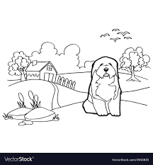 coloring book with dog and landscape vector image