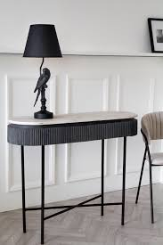 mango wood marble dark oval console