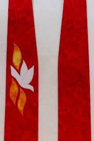 red clergy stole with white dove and three flames for pentecost and ordinations detail