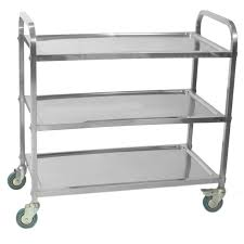 sunnex stainless steel 3 tier trolley