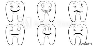 Set Of Cartoon Teeth The Molars With The Emotions On The