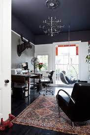 home office dark blue gallery wall. Dark Blue Ceiling Home Office Transitional With Moose Head Vintage Rug Gallery Wall