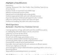Bartender Qualifications Resume Free Bartender Resume Templates