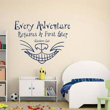 alice in wonderland wall decal every adventure requires a first step quote cheshire ca on alice in wonderland wall art quotes with alice in wonderland wall decal every from fabwalldecals on etsy
