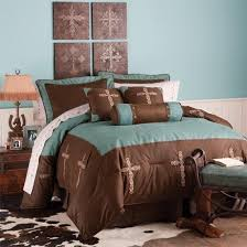 Western Decor Rustic Turquoise Cross Bedding Set