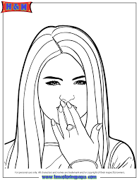 Small Picture Selena Gomez Blows Kiss Coloring Page H M Coloring Pages
