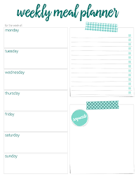 Horizontal Weekly Planner Template Printable Weekly Meal Planners Free Live Craft Eat