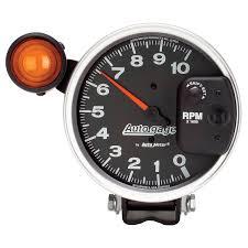 5 pedestal tachometer 0 10 000 rpm shift light black auto gage
