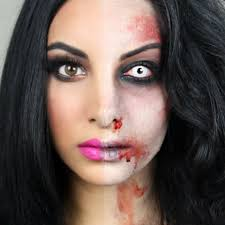 with this half zombie makeup you ll be the envied one at this years party beautiful y what better way to do your makeup for