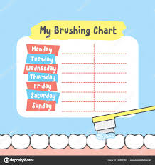 Teeth Cleaning Chart Free My Brushing Chart Illustration Vector On Blue Background