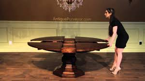 rustic round dining table. Rustic Round Dining Table For 8, Expandable Jupe With Self Storing Leaves - YouTube