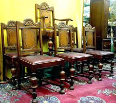 antique dining room set this handsome dark oak dining room set consists of a table that