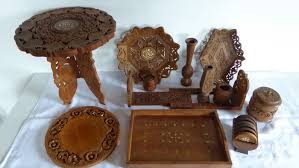 12 parts of india wood carving side table trays bookend coasters