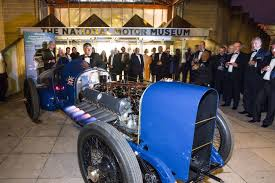 beaulieu one hundred members view the sunbeam 350hp outside the national motor museum