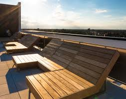 Roof deck furniture Wooden Roof Deck Lounge Chairs 1611 West Division 1611 West Division