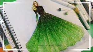 Youtube Fashion Design Sketches Fashion Illustration Painting For Beginners Easy Version Ombre Dress