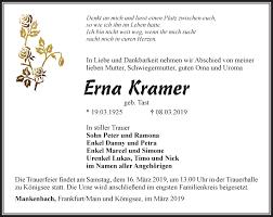 Traueranzeigen von Erna Kramer   trauer-in-thueringen.de