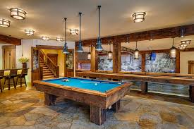 basement pool table.  Basement Sumptuous Shuffleboard Table For Sale In Basement Rustic With Pool Table  Next To Gameroom Alongside Game Room Flooring And Natural Stone For E